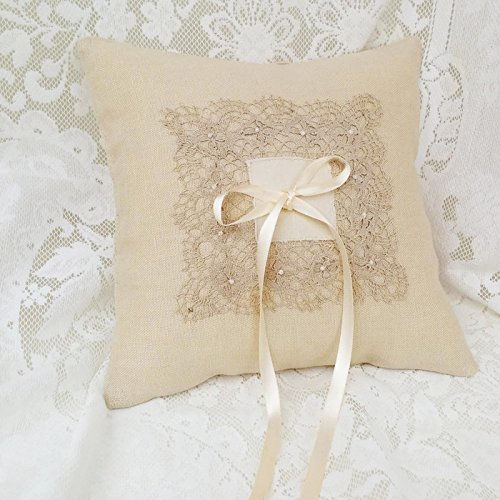 Wedding Ring Bearer Pillow Beige Linen and Lace