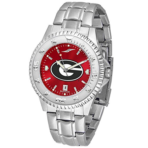 Georgia Bulldogs Round Clock - New Linkswalker Mens Georgia Bulldogs Competitor Steel Anochrome Watch