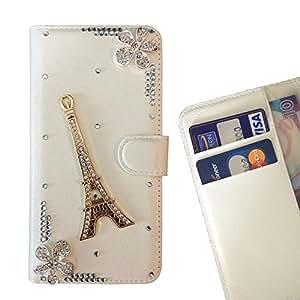 FOR LG Nexus 5 E980 D820 D821 Paris Flowers Tower Bling Bling PU Leather Waller Holder Rhinestone - - OBBA