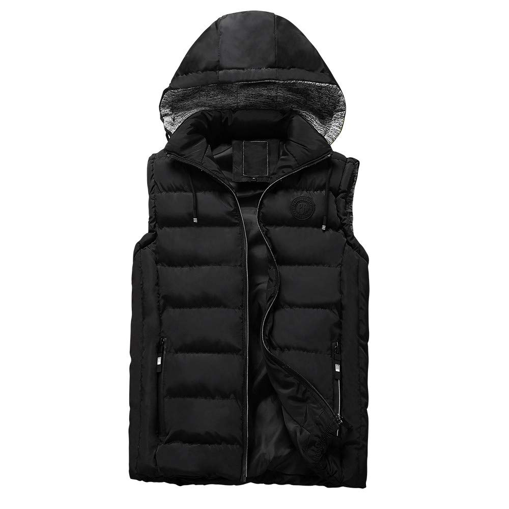 TUSANG Mens Sleeveless Autumn Winter Coat Padded Cotton Vest Warm Hooded Thick Vest Jacket Top