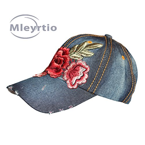 l Cotton Baseball Cap Embroidered Rose Flower Stone Washed Denim Hat (Rose B & Navy) ()