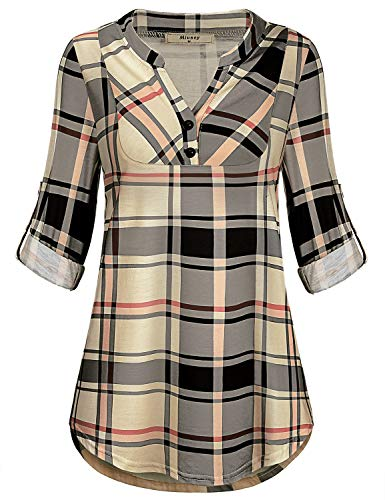 Miusey Business Casual Clothes, Ladies Long Shirts for Leggings for Women Scottish Plaid Shirttail Pintuck Knit Print Pattern Embellished Cute Polo Top Beige L