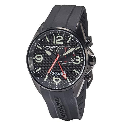 Swiss Gmt Alarm - Torgoen T30 Carbon Fiber GMT/Alarm Pilot Watch   45mm - Black Silicone Strap