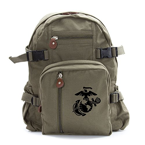 U.S. Marine Corps Semper Fidelis Army Sport Heavyweight Canvas Backpack Bag in Olive & Black, Small