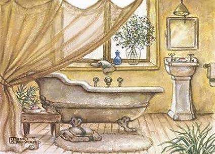 Feelingathome stampa artistica cornice vintage vasca da bagno iv
