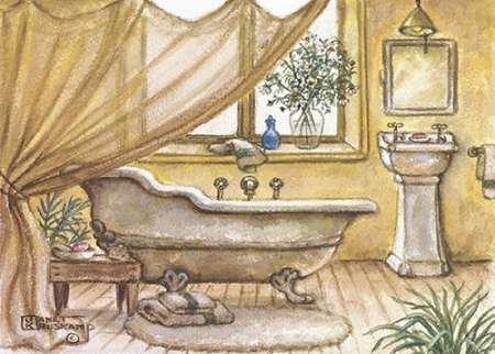 Feelingathome stampa artistica x cornice vintage vasca da bagno iv