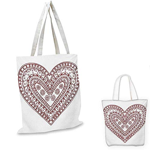 Henna canvas messenger bag Paisley Doodle in Heart Shapes Little Blossoms Swirls Curves Hippie Sixties Influence canvas beach bag Ruby White. 12