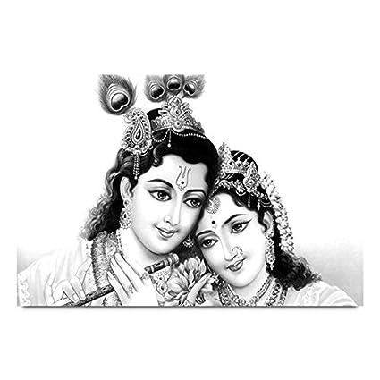 ezyprnt radha krishna sketch printed wall poster size 18x12 inch