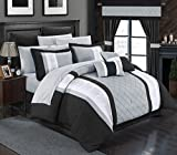 Chic Home 24 Piece Danielle Complete Pintuck Embroidery Color Block Bedding, Sheets, Window Panel Collection Bed in a Bag Comforter Set, King, Black