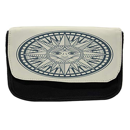 Ambesonne Nautical Tattoo Pencil Case, Retro Sun Compass, Fabric Pen Pencil Bag with Double Zipper, 8.5