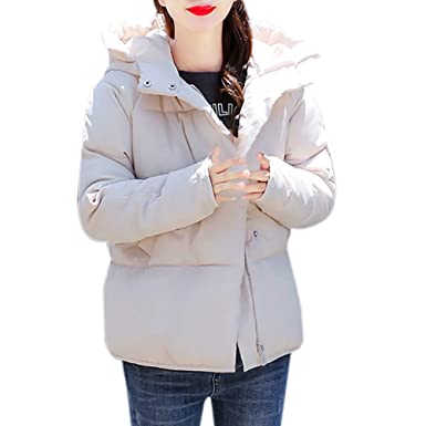 SANFASHION Abrigo De La Capa del Invierno De Las Mujeres Corto Delgado AlgodóN Acolchado Espesar Acolchado Abrigo con Capucha: Amazon.es: Ropa y accesorios