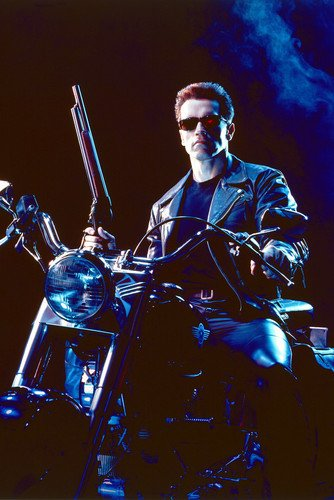 Arnold Schwarzenegger sitting on Harley Fat Boy with shotgun Terminator 2 24X36 Poster from Silverscreen