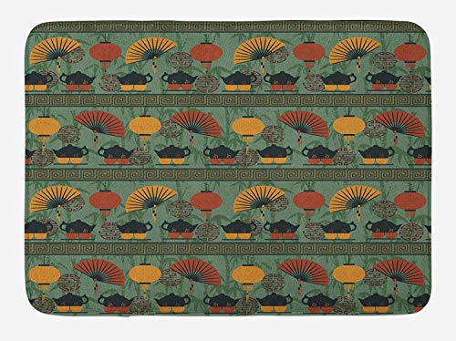 TAQATS Tea Party Bath Mat, Asian Ethnicity Theme Grunge Bamboo Branches Chinese Lanterns, Plush Bathroom Decor Mat with Non Slip Backing, 23.6 W X 15.7 W Inches, Reseda Green Orange Marigold