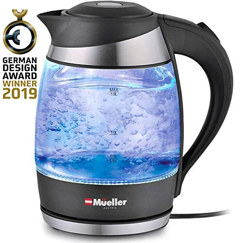 Premium 2019 Model 1500W Electric Kettle Water Heater Teakettle with SpeedBoil Tech, 1.8 Liter Cordless with LED Light, Borosilicate Glass, BPA-Free with Auto Shut-Off and Boil-Dry Protection (Best Electric Tea Kettle 2019)