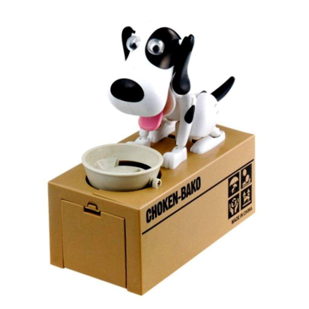 Honeybeloved Dog Coin Bank Choken Bako Doggy Puppy Fun Kid's Gift Mechanical Hungry 6.5'' x 6'' x 3''Black and White
