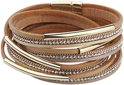 TASBERN Women Wrap Bracelet in Goldplated Metallic Crystal Leather Rope Cuff Bangle with Magnetic Buckle