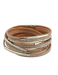 COOLLA Women Genuine Leather Bracelet Wrap Crystal Bracelet Magnet Buckle