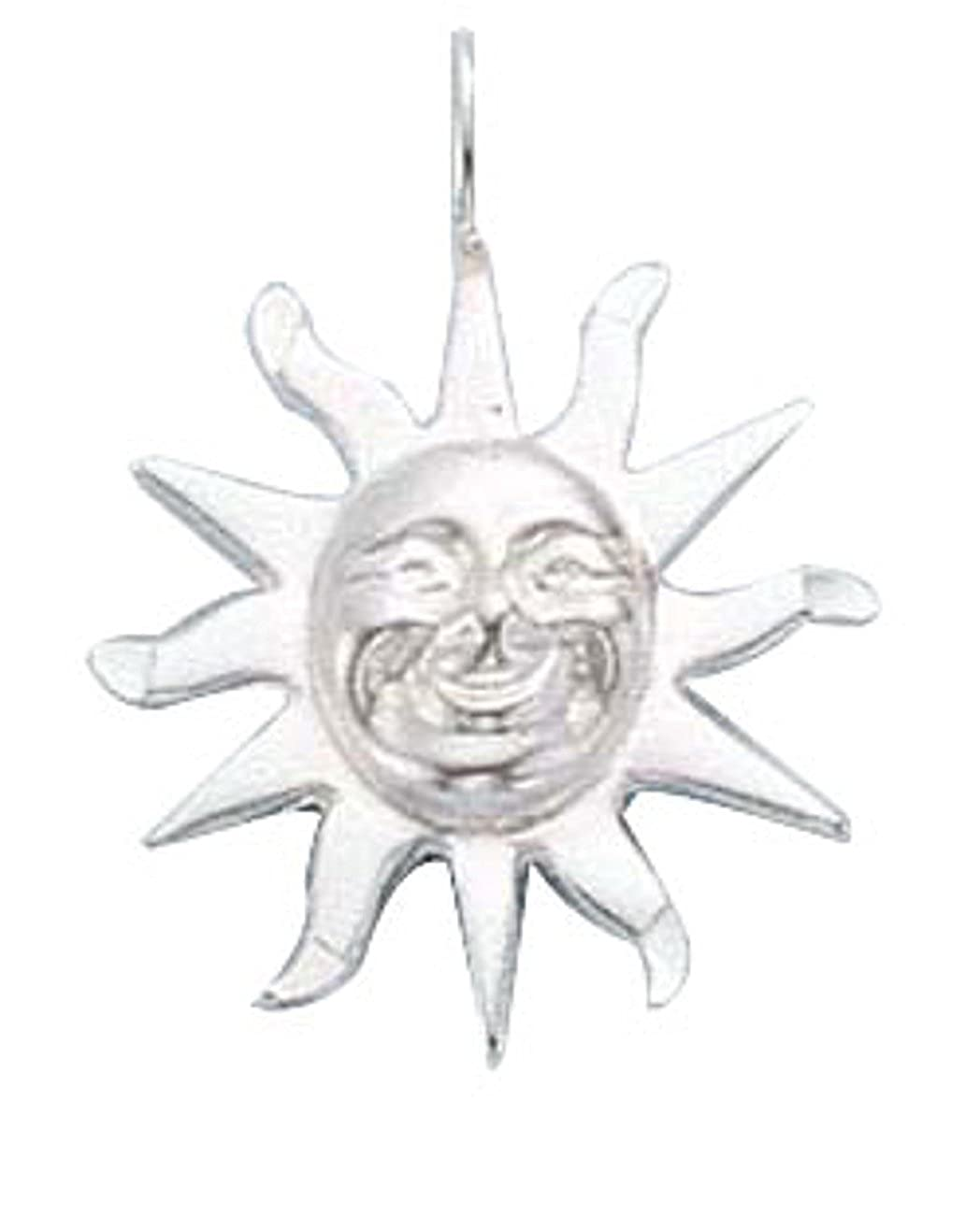 Sterling Silver Girls .8mm Box Chain Smiling Sun Rays Of Light Pendant Necklace