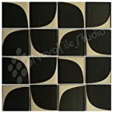 Box 10 Tiles Retro Black & Silver Glass Mosaic Tile 12''x12'' MILANO-GL003 (10)