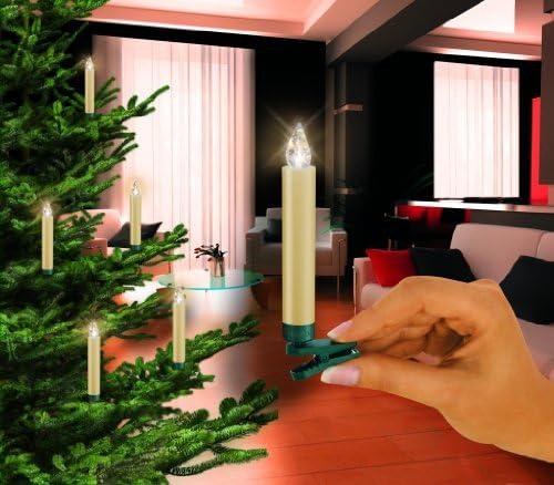 Krinner 74232 Lumix Classic Erweiterungsset elfenbein IR, fünf warmweisse LED Christbaumkerzen und Batterien