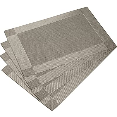 DinaChef Place Mats for Dining Table or Kitchen, Quality Thermal Bonded Edges, Reversible Placemats, Vinyl Placemat Set of 4, Rectangle Square Corner Design Mats in Grey - PREMIUM QUALITY with exquisite design table placemats and make the best table mats decoration and provide protection to your tables if you have children, best placemats and coaster sets THERMAL BONDED EDGES make vinyl placemats edges more beautiful and stronger, Best rectangle dinner table placemats, Placemat Set of 4 HEAT INSULATION to the highest temperature of 120℃(248℉) and wear resistance, high-quality, durable, free bending large placemats - placemats, kitchen-dining-room-table-linens, kitchen-dining-room - 51w94NFZPlL. SS400  -