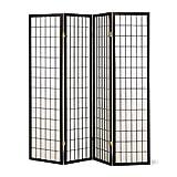 Room Furniture SQUARE FURNITURE Panel Shoji Screen Room Divider 3-10 Panel (4 panel, Black, White, Cherry, Natural)