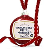 Christmas Decoration Worlds Best Hotel Manager Certificate Award Ornament