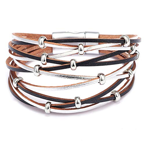 Mnz Jewelry Leather Bracelet Western Design Boho Wrap Bracelets Cuff Bangle for Women Magnetic Bracelet Handmade Jewelry for Mother Gift