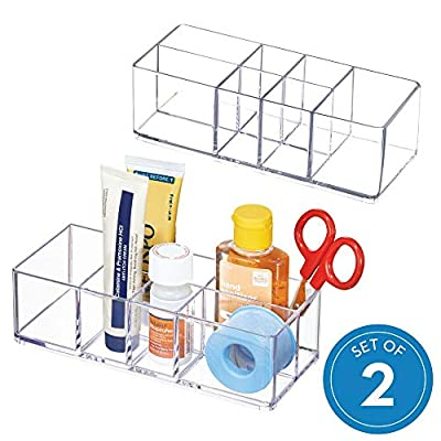 """iDesign Med+ Plastic Bathroom Medicine Cabinet Organizer, for Vanity, Prescriptions, Toothbrushes, Toothpaste, Accessories, Cosmetics, Toiletries, 7"""" x 3"""" x 5"""", Set of 2, Clear - VANITY STORAGE BIN: Vanity organizer container with 6 compartments to hold thermometers, medicine, bandages, hand sanitizer, makeup brushes, cosmetics, rings, hair accessories, pens, pencils, and other office supplies. Ideal for vanity, bathroom, bedroom, office, kitchen, or craft room VERSATILE: Use on your vanity or in your bathroom, bedroom, kitchen, office, craft room, or more EASY VISIBILITY: Transparent walls are allow you to easily view box contents - organizers, bathroom-accessories, bathroom - 51w94rnBbgL. SS400  -"""