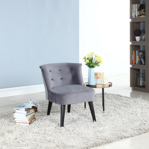 e Classic and Traditional Living Room Velvet Fabric Accent Chair with Tufted Details (Grey) ()