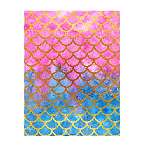QH 60 x 80 Inch Pink & Blue Mermaid Scale Pattern Super Soft Throw Blanket for Bed Sofa Lightweight Blanket Throw Size for Kids Adults All Season