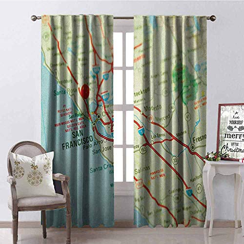 Gloria Johnson Map Wear-Resistant Color Curtain Vintage Map of San Francisco Bay Area with Red Pin City Travel Location Waterproof Fabric W52 x L63 Inch Pale Blue Pale Green Red