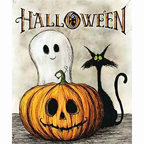 DIY 5D Diamond Painting Kit, Full Diamond Halloween Pumpkin Embroidery Rhinestone Cross Stitch Arts Craft Supply for Home Wall Decor]()