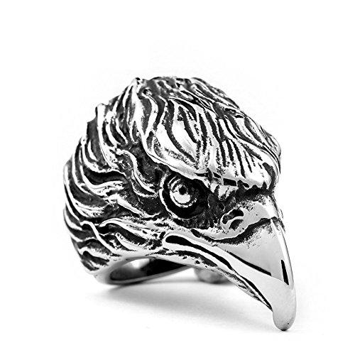Vintage Silver Detailed Eagle Head Stainless Steel Biker -