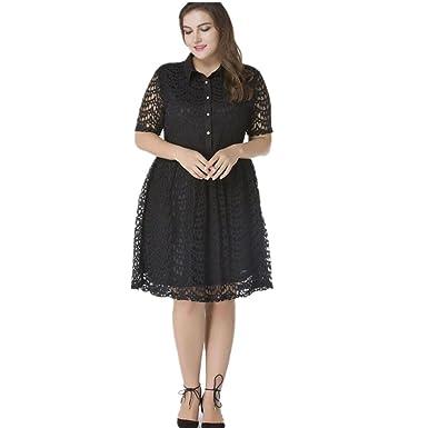 dcfdfd3196a Judy Dre am Women's Pure Color Plus Size Lace Dresses Short Sleeve Swing  Shirt Collar Work