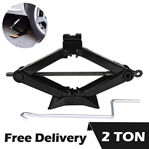 DICN Scissor Car Jack 2 Ton Steel with Chromed Handle for Roadside Tire Change Repair, Black 1 Pcs (Toyota Road Service)