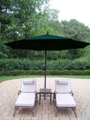 Oakland Living Elite Cast Aluminum 2 Cushioned Chaise Lounges with 18-Inch Side Table and 10-Feet Cantilever Umbrella