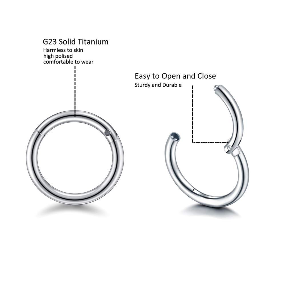 Jusway Hoop Earrings Nose Rings Lip Earrings Septum Jewelry Hinge Segment Rings Titanium Daith Earring(2pcs)