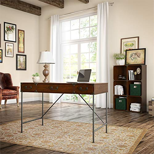 Kathy Ireland Office Ironworks 48W Writing Desk and Bookcase in Cherry