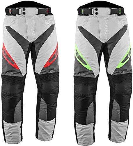 PROFIRST Textile Motorbike Motorcycle Trouser CE Approved Protective Armours All Weather Waterproof Breathable Mens Motorcycle Pant with Removable Lining red, XL