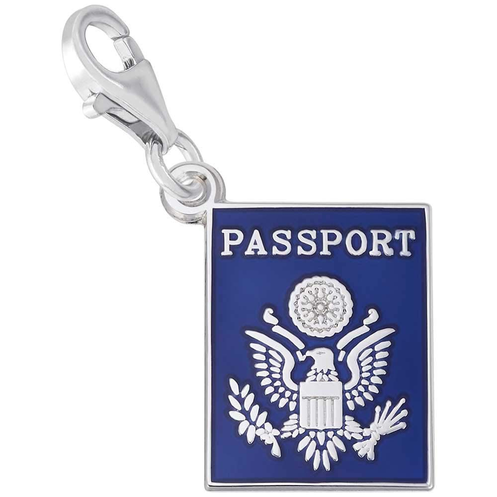 Rembrandt Charms Passport Charm with Lobster Clasp, 14k White Gold