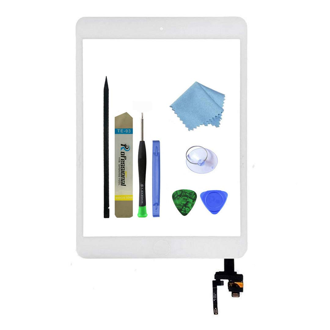 Zentop White iPad Mini 3 A1599 A1600 Touch screen Digitizer Replacement 7.9 Inch Glass panel with IC Chip,Home Button and Repair tool Kit