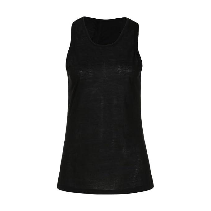 BeautyTop Camiseta Ttirantes Mujer Tank Top Camisa de Yoga con Espalda Cruzada Para Mujer Sin Mangas
