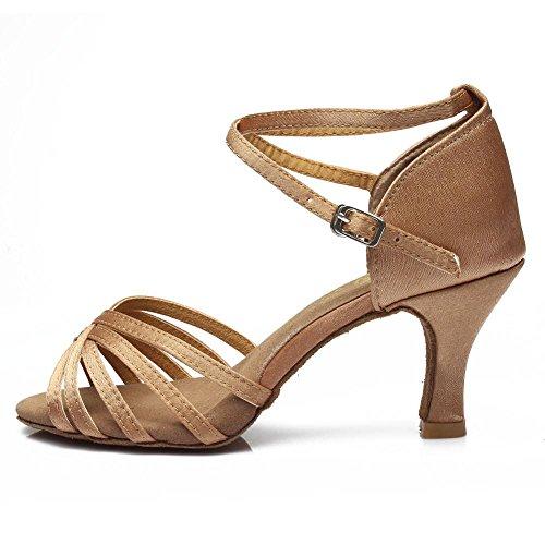 YFF Frauen Tango/Ballsaal/Latin Dance Tanz Schuhe hochhackige Salsa professionelle Tanz Schuhe für Mädchen Damen 5 cm/7 cm,7 cm Heels Beige,4,5