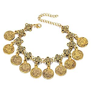 Gold Color Bohemian Metal Tassel Anklet Charm Coin Ankle Bracelet For Women Jewelry Summer Style