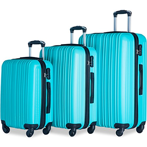 Merax Buris 3 Piece Luggage Set Lightweight Spinner Suitcase 20 24 28 (Sky.Blue) by Merax.
