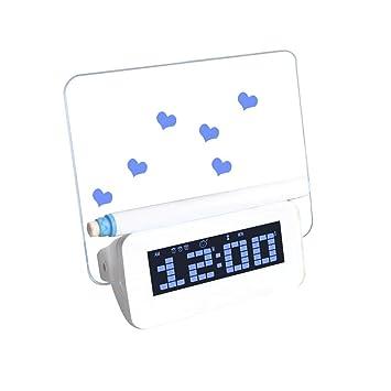 ES-BLUS Despertador/Led Despertador Digital/Tablero De Mensajes Fluorescente Carga USB Reloj Multifuncional, Azul: Amazon.es: Hogar