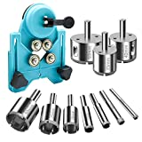 Diamond Drill Bits, 10 Pcs Hole Saw Set with Adjustable Hole Saw Guide,Industrial Grade Carbon Steel, Coated With Nickle Plated Suitable for Ceramic, Glass, Tile, Porcelain,Wood