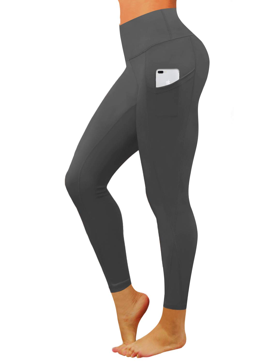 BUBBLELIME High Compression Yoga Pants Out Pocket Running Pants High Waist Power Flex Moisture Wicking UPF30+, Bwwb010 Shadowcharcoal, X-Small