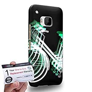 Case88 [HTC One M9] 3D impresa Carcasa/Funda dura para & Tarjeta de garantía - Art Fashion Reversed Green Psychedelic Bicycle
